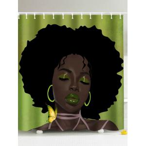 Afro Hair Lady Immersed In Her Own World Shower Curtain