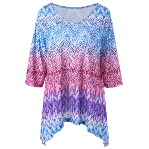 Zigzag Asymmetric Plus Size T-Shirt