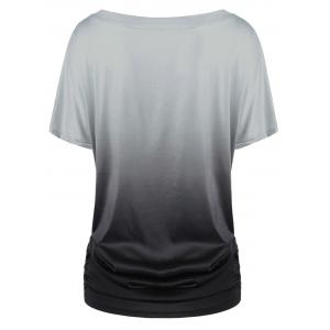 Ombre Shirred Side Plus Size Long T-Shirt - BLACK AND GREY 3XL