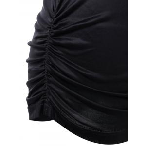 Ombre Shirred Side Plus Size Long T-Shirt - BLACK AND GREY 4XL