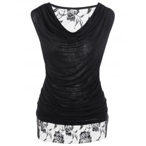 Lace Trim Ruched Cowl Neck Tee