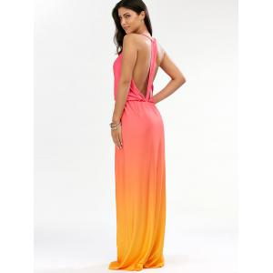 Backless Plunge Ombre Maxi Dress - ORANGE XL