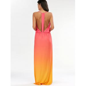 Ombre Plunge Long Backless Cocktail Maxi Dress - ORANGE XL