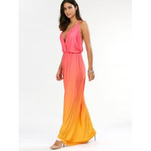 Ombre Plunge Long Backless Cocktail Maxi Dress -