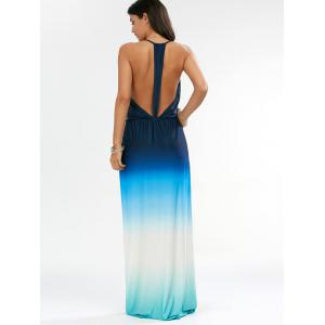 Ombre Plunge Long Backless Cocktail Maxi Dress - BLUE XL