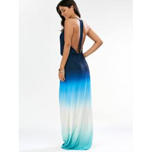 Ombre Plunge Long Backless Cocktail Maxi Dress - BLUE M