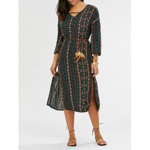 Split Tribal Print Bohemian Dress