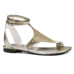 Toe Ring Faux Leather Sandals - Golden - 37