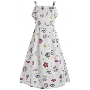 Sleeveless Eye Printed Vintage Dress - White - Xl