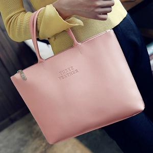 Faux Leather Letter Embossed Tote Bag -