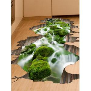 Home Decor Removable 3D Stream Floor Sticker - Green - 50*70cm