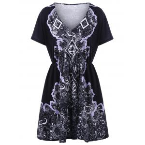 Print Plus Size V Neck Mini Dress