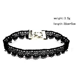 Crochet Vintage Choker Necklace - BLACK