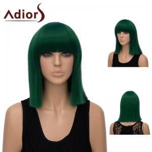 Adiors Neat Bang Medium Straight Bob Synthetic Wig - Deep Green