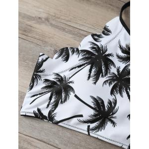 High Waist Scalloped Tropical Bathing Suit - BLACK L