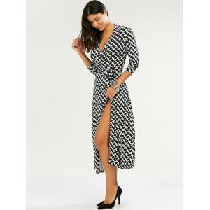 Maxi Plunge Patterned Wrap Dress