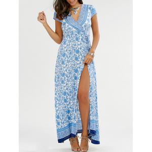 Surplice Floral Slit Maxi Flowy Beach Dress