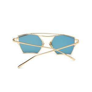 Polygonal Cambered Metal Crossbar Mirror Sunglasses - GOLD FRAME / PINK LENS