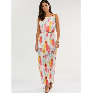 Floral Print Pleated Maxi Dress - WHITE S