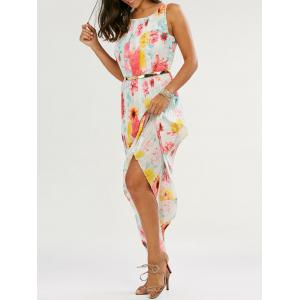 Floral Print Pleated Maxi Dress - White - Xl