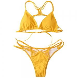 Cutout Strappy Skimpy Bikini Set - YELLOW M
