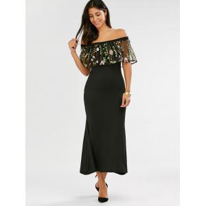 Fitted Long Embroidered Off The Shoulder Maxi Formal Dress - BLACK S