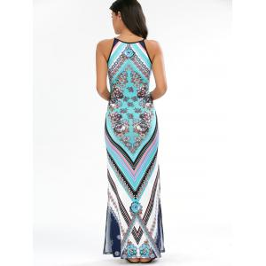 Keyhole Neck Floral Chevron Sleeveless Maxi Dress - CYAN XL