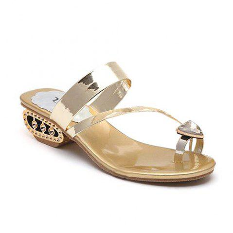 Hot Rhinestone Toe Ring Slippers - 38 GOLDEN Mobile