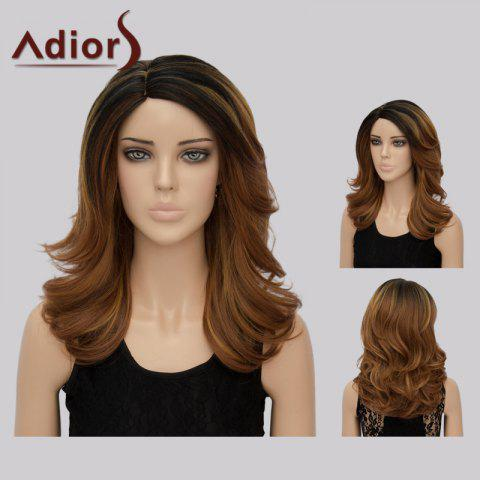 Adiors Long Side Part Tail Upwards Colormix Synthetic Wig - Coffee Brown - 10inch