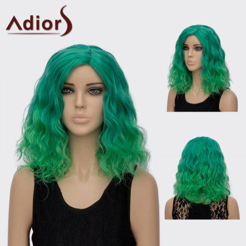 New Adiors Medium Side Part Curly Colormix Synthetic Wig GREEN