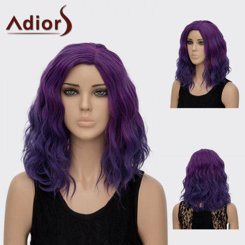 Buy Adiors Medium Side Part Curly Colormix Synthetic Wig BLUE / PURPLE