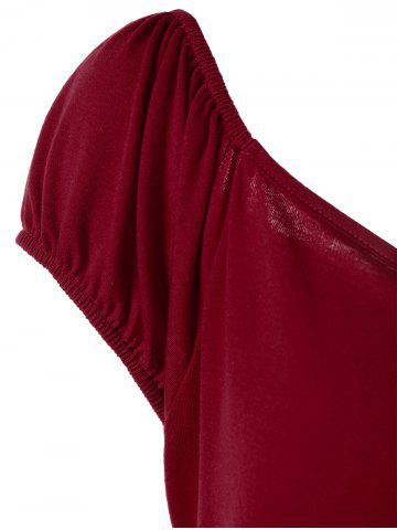 Affordable Plus Size Empire Waist T-Shirt with Button - 2XL DEEP RED Mobile