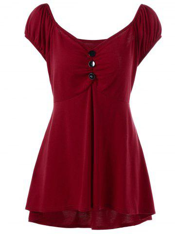 Sale Plus Size Empire Waist T-Shirt with Button - 2XL DEEP RED Mobile