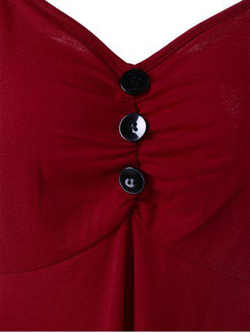 Latest Plus Size Empire Waist T-Shirt with Button - 2XL DEEP RED Mobile