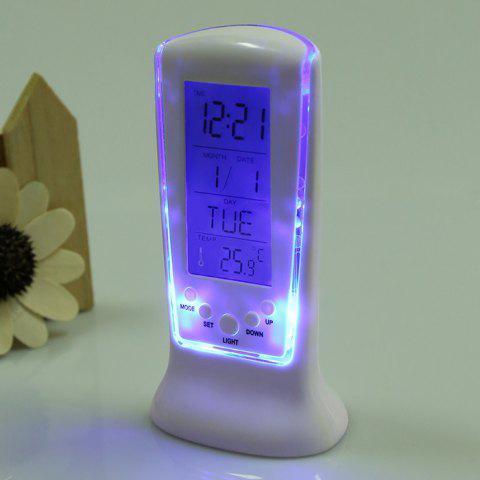 Store Calendar Temperature LCD Digital Alarm Clock - WHITE  Mobile