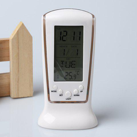 Cheap Calendar Temperature LCD Digital Alarm Clock - WHITE  Mobile