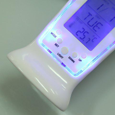 New Calendar Temperature LCD Digital Alarm Clock - WHITE  Mobile