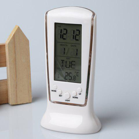 Outfit Calendar Temperature LCD Digital Alarm Clock - WHITE  Mobile