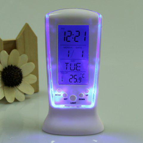 Fancy Calendar Temperature LCD Digital Alarm Clock - WHITE  Mobile