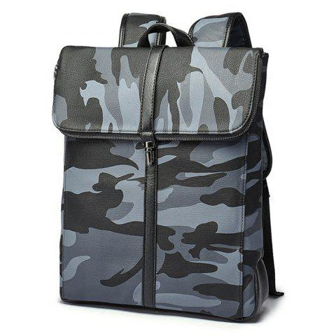 Trendy PU Leather Camouflage Print Backpack - CAMOUFLAGE  Mobile