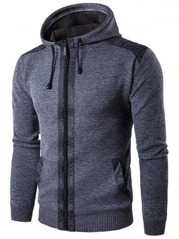 Unique Zip Up Suede Insert Knitted Hoodie - GRAY XL Mobile