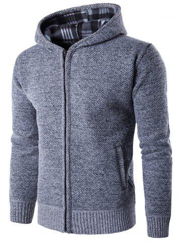 Store Textured Zip Up Hoodie - XL LIGHT GRAY Mobile