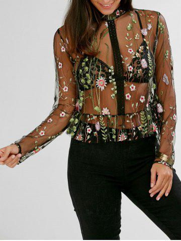 Floral Embroidered Semi Sheer Peplum Blouse - Black - M