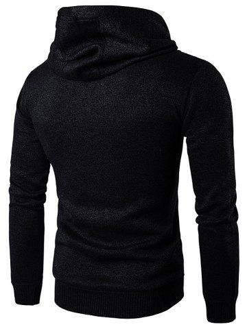 Shop Zip Up Suede Insert Knitted Hoodie - BLACK 2XL Mobile