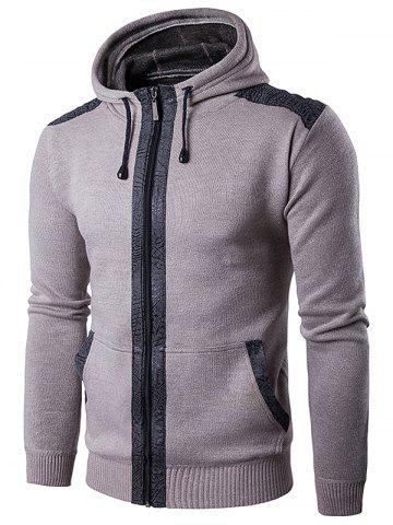 Affordable Zip Up Suede Insert Knitted Hoodie - 3XL LIGHT BEIGE Mobile