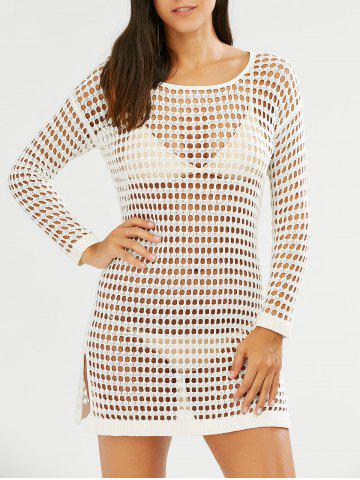 Slit Crochet Long Sleeves Cover-Up - White - One Size