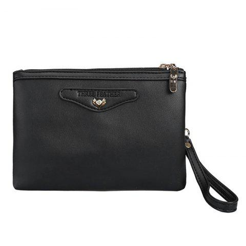 New Faux Leather Wristlet Clutch Bag BLACK