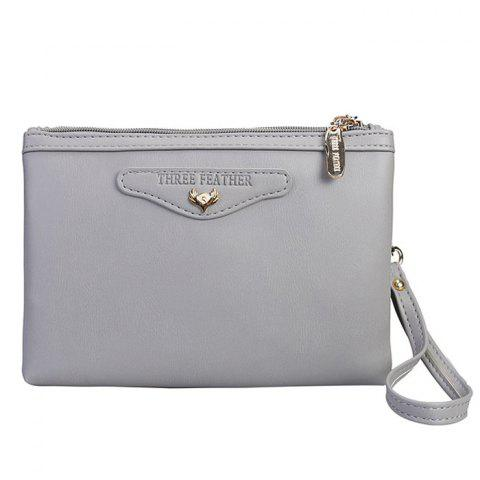 Fashion Faux Leather Wristlet Clutch Bag GRAY