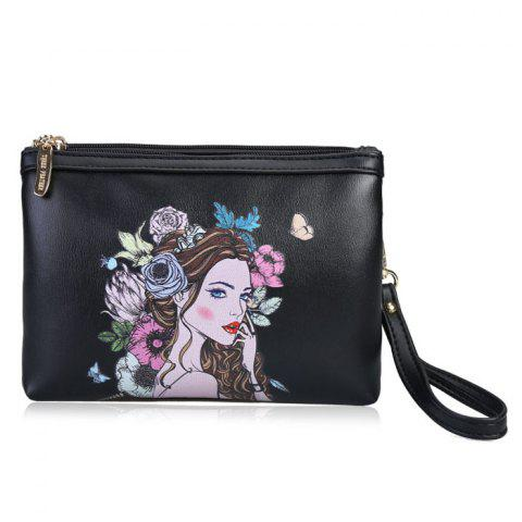 Beauty Painted Wristlet Clutch Bag - BLACK