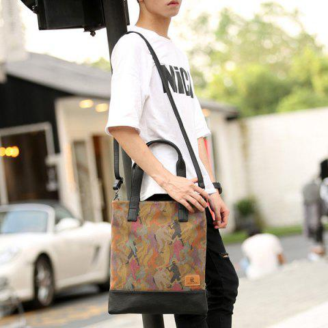 Affordable Contrast PU Leather Print Canvas Tote Bag - COLORMIX  Mobile